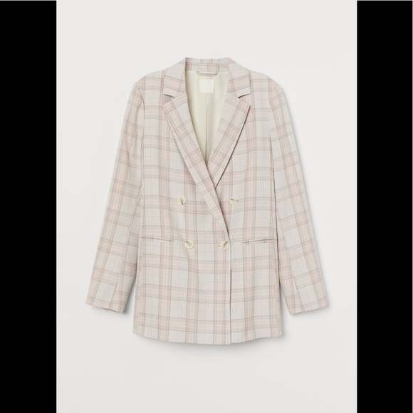 New H&M Light Pink Plaid Double-Breasted Blazer Size L